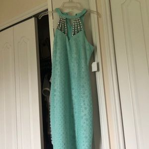 Blue dress with rhinestone design Sz. M NWT